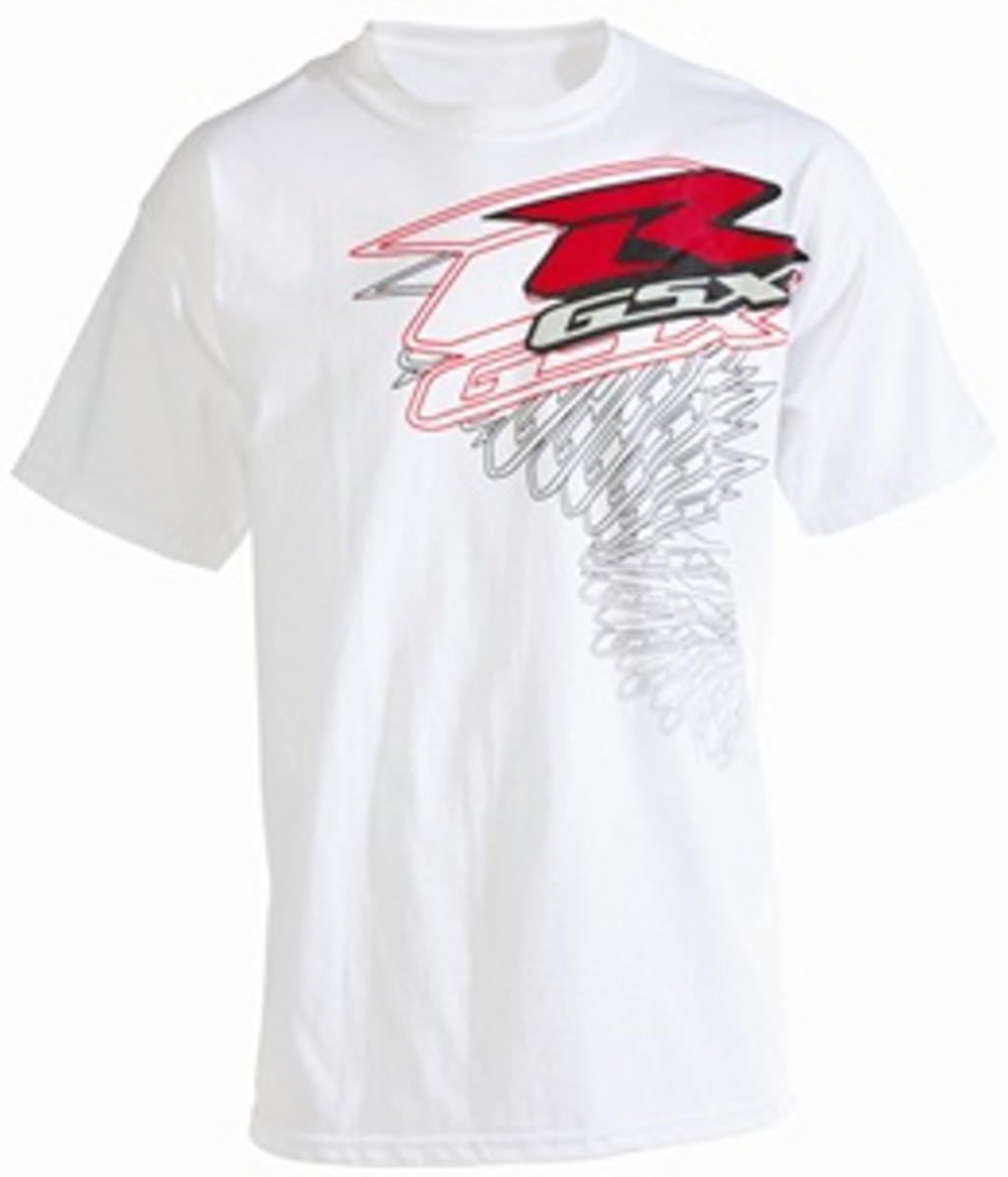 suzuki gsxr twisted short sleeve t shirt white ebay. Black Bedroom Furniture Sets. Home Design Ideas