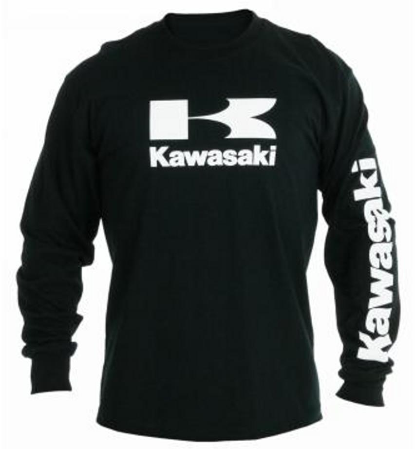 kawasaki stacked logo long sleeve t shirt black ebay. Black Bedroom Furniture Sets. Home Design Ideas